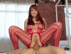 Redhead Penny Pax has some time to give some oral pleasure