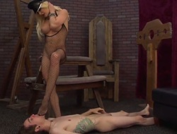 Blond Deviant Kade cant resist the temptation to take heavy specie discharged on her face