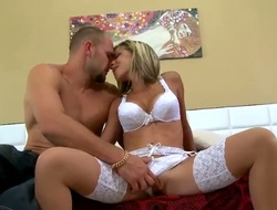 Blonde senora Jmac with massive breasts and clean pussy is a cook jerking addict