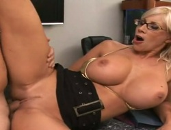 Blonde Puma Swede with huge breasts and hairless pussy makes mans love wand stiff and hard
