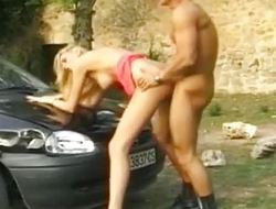 Breasty playgirl drilled on german street