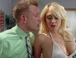 Large boobed stripper Kagney Linn Karter in white bikini turns guy on to the point of no return and handles his hard dick like a pro. This babe licks and sucks his rock solid dick before he sticks it in her tight pornstar pussy