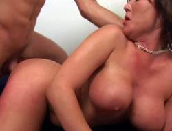 Tanned short haired dark brown Claire Dames with enormous firm rack and round ass has memorable screaming orgasms while younger stud with sixpack is pounding her in doggy style position