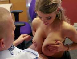 Stunning beauty Katerina with jaw dropping soaked gazongas and slim body in black lingerie gives titjob to her boss with lengthy shaft and acquires group-fucked hard in the office