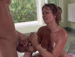 Big ass and busty milf Monique Fuentes enjoys in getting her hands on sexy stud Danny Mountain during his sexy shower bath time and plays with it on her knees