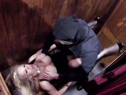 Rebecca Moore giving head in a box
