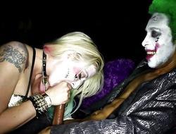 Concupiscent Harley Quinn slurping clown