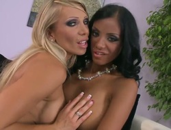 Brunette Candy Strong and Kyra Darksome have lesbo sex