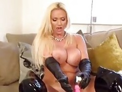 Busty blond Lucy Zara turns into vampire and copulates toy as she fingers clit