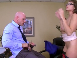 Cocoa with juicy hooters loses control after Johnny Sins puts his hard boner in her face hole