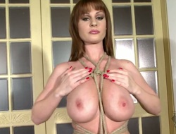 Enchanting cutie with gigantic jugs and hairless beaver shows it all on cam