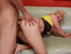 Blonde Lexi Gulp with giant breasts and clean twat takes the cumshot of her dreams