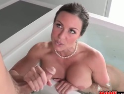 Dark brown with giant milk shakes and clean love tunnel is one oral slut who gives guys beefy cock a try