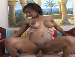 Dark brown with massive love melons and trimmed love tunnel enjoys guys meaty rock solid ram rod in her juicy mouth