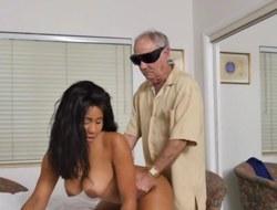Swarthy nurse fucks geriatrics at home visit