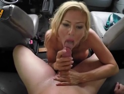 A hot blonde babe with some bit whoppers and a nicely shaped and round ass is going to give he a really awesome blow job in his car. Shes a real cock sucker, let me tell you that