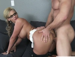 Phoenix Marie is a chick with a shaved pussy, firm big breasts and a huge ass. She is giving it all to the handyman as he's taking care of some things around the house.