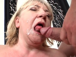 Granny has a hairy pussy. She gets a much younger guy to take up with the tongue it. Then that babe turns around and shakes her fat old ass. She gets then cumshot on her back.