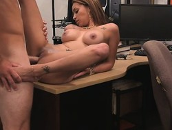 Large whoppers latin chick pawns her pussy and fucked by nasty pawn dude