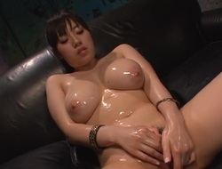 Asian sweetheart with lovely mambos toys and plays with her shaggy twat
