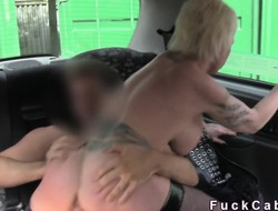 Busty tattoed Milf bangs in London cab