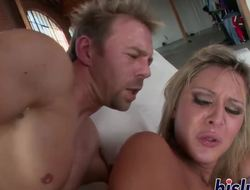 Hot blonde receives down and immodest