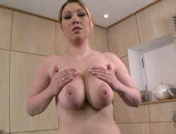 Lyla Ashby with massive tits and bald snatch dreaming about real sex with real fellow with sex toy in her pussy