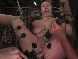 Amateur receives her big melons tied and shocked for the 1st TIME ever!
