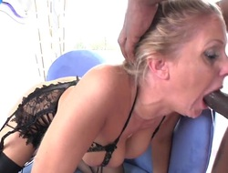 Julia Ann takes it in her slit after guys dick becomes stiff and hard