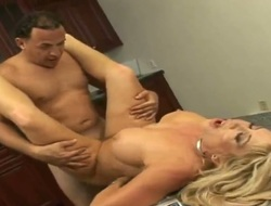 Blonde with juicy love bubbles and clean pussy has some time to stroke her muff pie