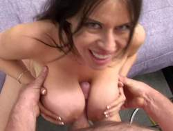 Dark haired Daphne Rosen with gigantic killer gazognas and great oral skills gives memorable titjob to her lover in pov and gets licked to orgasm in lusty sixty nine