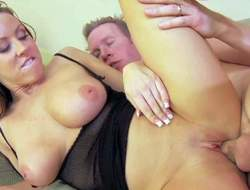 Big racked playgirl Carolyn Reese shows off her sexy huge titties in hardcore scene. This busty slut gets her shaved tight cunt banged balls deep. Watch her get shagged on the couch