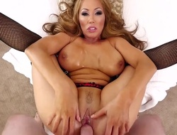 Kianna Dior is a brunette with massive tits. That babe is swallowing cum as her mambos are massaged by the cum giving cock. That babe loves to use her chest pillows on a hard cock.