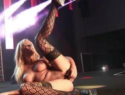 Elegant milf masturbating on public stage
