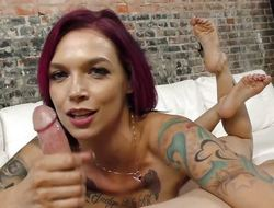 Anna Bell Peaks tugs on this hard dick