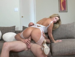 Blonde Jmac with big hooters and hairless pussy has a good time blowing guys ram 10-Pounder