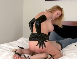 Blonde Krissy Lynn satisfies her sexual needs and desires with sexy dude