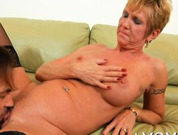 Older babe rides cock in a cowgirl and other poses