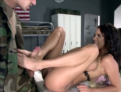 With gigantic melons gets the gap between her lengthy legs poked by Danny D in front of the camera