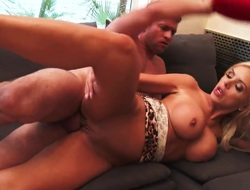 Golden-haired asian with gigantic hooters and shaved pussy makes men fuck stick harder before getting her love box hammered
