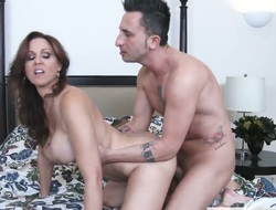 Brunette exotic Julia Ann with gigantic boobs is just a slut that masturbates a man