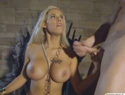 Feisty goddess got jizz on her big milk sacks after fucking