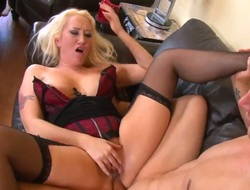 Golden-haired Alana Evans gets face hole pounded the way that babe loves it