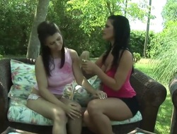 2 breasty babes finger each other
