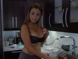 Tempting non-professional brunette Sofia with hot curvy body and natural knockers gets her shirt wet and sluggishly starts stripping in the kitchen while lover films everything in point if view