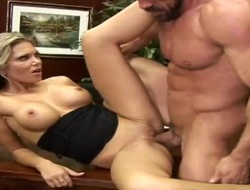 Blonde shows oral sex tricks to hot blooded man with passion and desire
