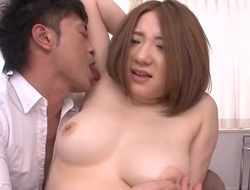 Stud is ravishing Japanese hottie's merry large breasts wildly