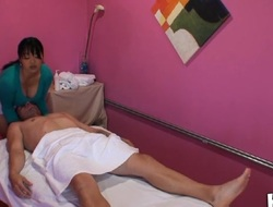 Hot and passionate fucking takes place in massage room