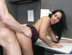 Biggest tits bounce in an office