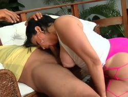 Soraya Carioca with bubbly bottom and shaved bush has a great time stroking mans worm